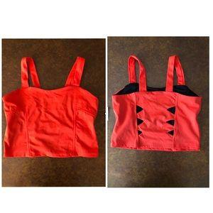 NWT Onzie Red Crop Cutout Top Yoga Sports Bra